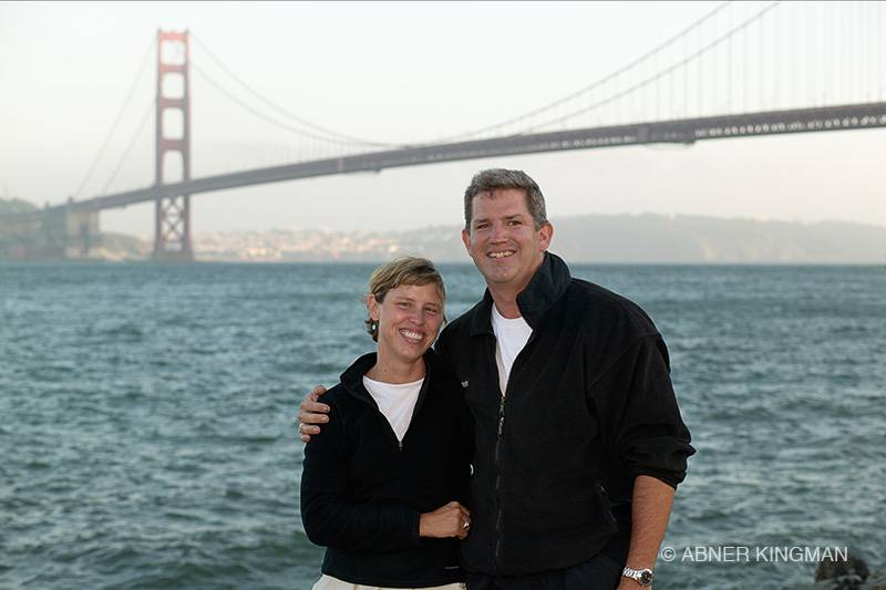 Photo of Scott and Pam standing in front of the Golden Gate Bridge